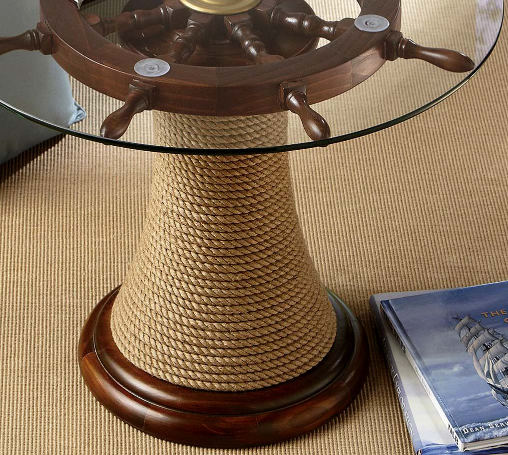 Ship Wheel Round Glass Table Rope Wood Accent Goldtone Nautical Navy Naval Beach Ebay