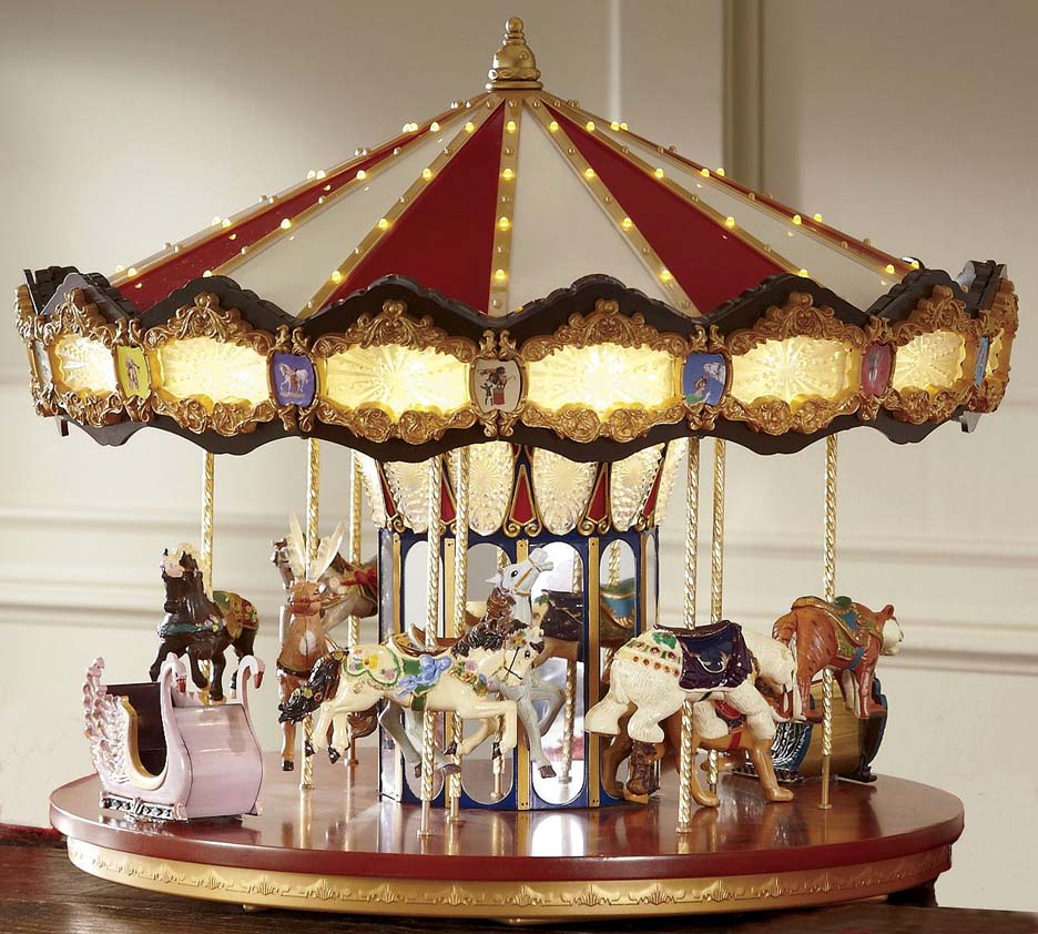 Carousel Merry-Go-Round Rotating Music Animated Christmas